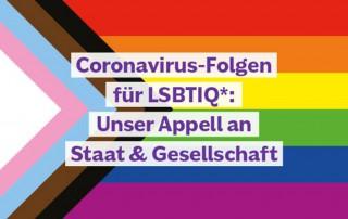 Flagge mit Text Covid-19 Folgen für die LGBTIQ*